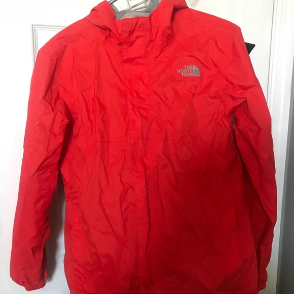 94d191286 Red North Face rain jacket